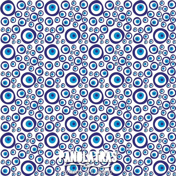 #Olho #grego #estampa #sorte #Panólatras #tecido #artesanato #design