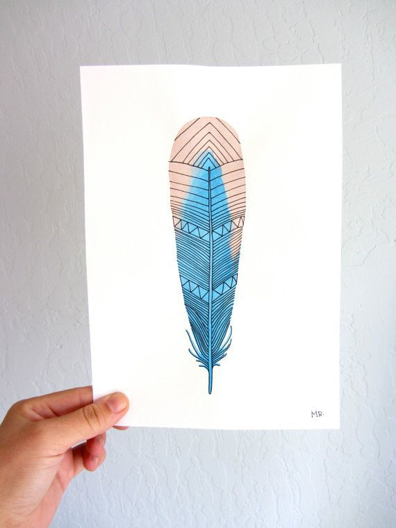 Watercolor Feather Art Painting  Blue Pink Neon by RiverLuna #etsy: