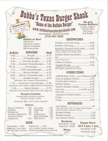 Bubba's Texas Burger Shack — Menu