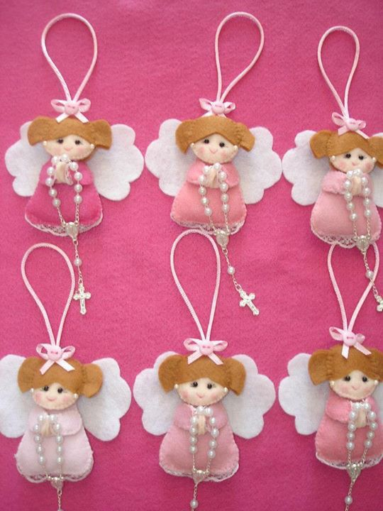 Felt angels. Could be First Communion favors.