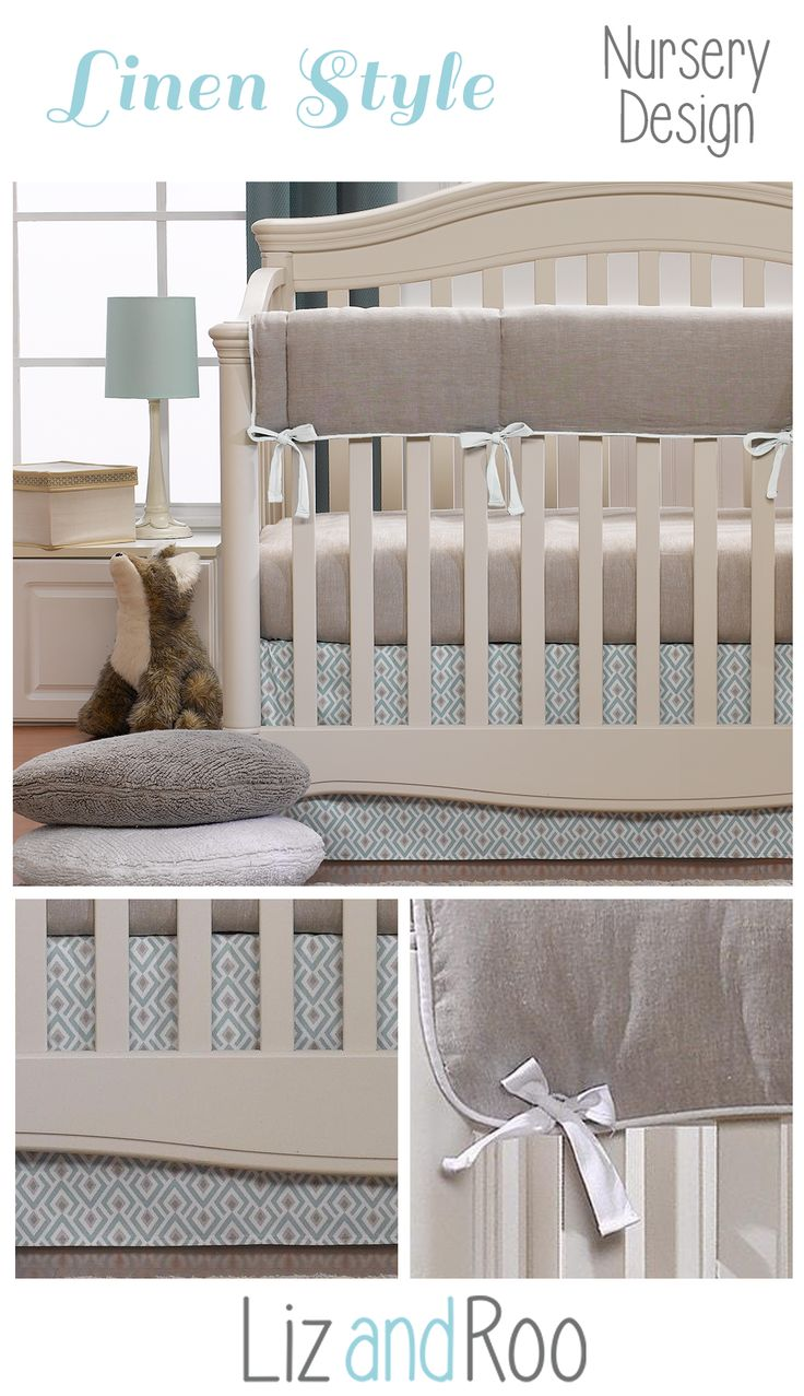 Woodland baby bedding perfect for an aqua nursery.  Our Archery baby bedding set features a linen crib sheet and crib rail cover.