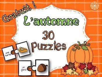 Automne - 30 puzzles - GRATUIT! Idéal pour ajouter à un centre de littératie afin de pratiquer le vocabulaire de l'automne.