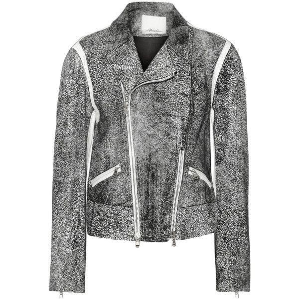 3.1 Phillip Lim Cropped speckled leather biker jacket (€865) ❤ liked on Polyvore