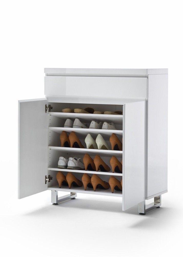 Schuhschrank Weiß Hochglanz Snow mit 2 Türen und 1 Schublade 7395