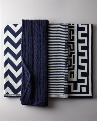 Navy and White Cotton #Throws at #Horchow.