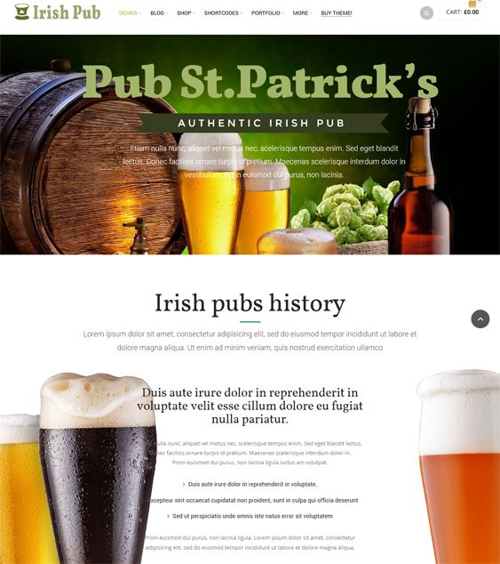 This restaurant theme for WordPress offers custom headers and breadcrumbs, unlimited colors, lots of shortcodes, Flickr and Twitter widgets, Ajax search, Google Maps integration, a responsive layout, Visual Composer, and more.