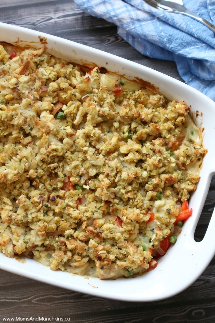 Chicken Pot Pie with Stuffing Crust Recipe - an easy casserole recipe perfect for a big family meal!