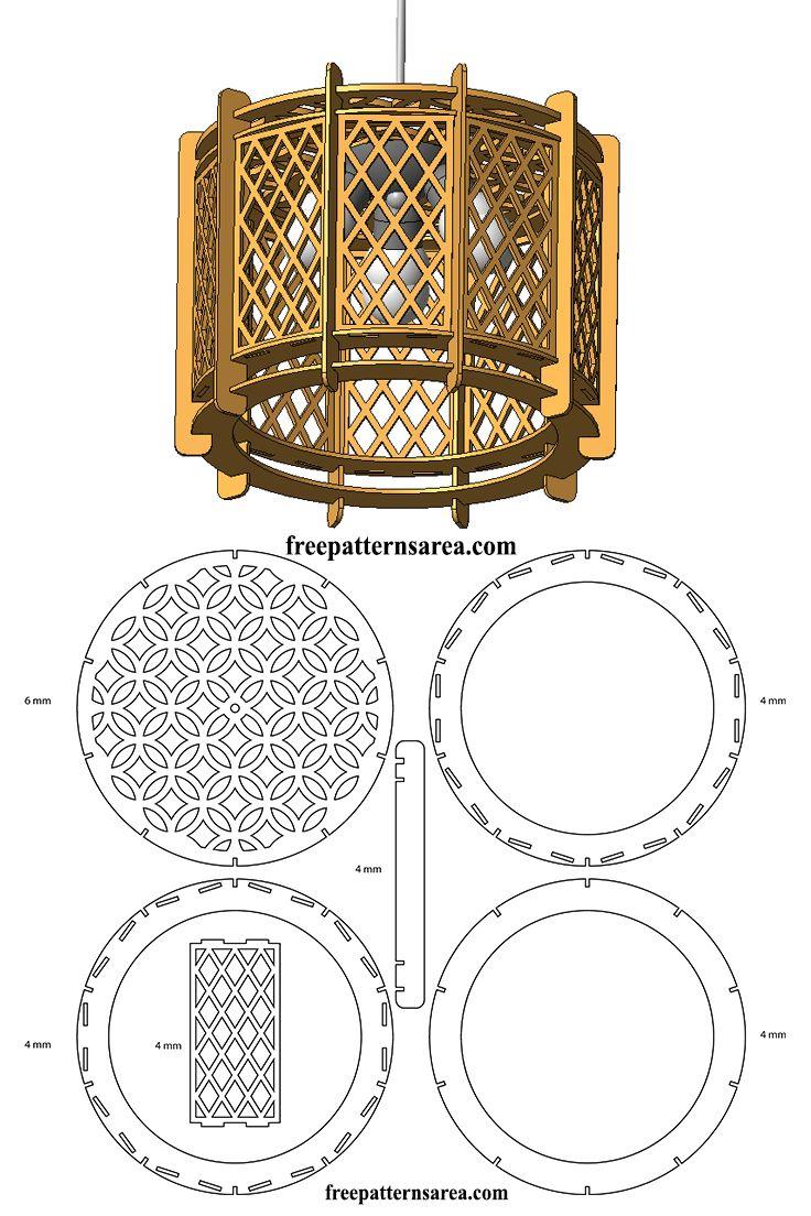 Wood Drum Chandelier Light Free Laser Cutting Design
