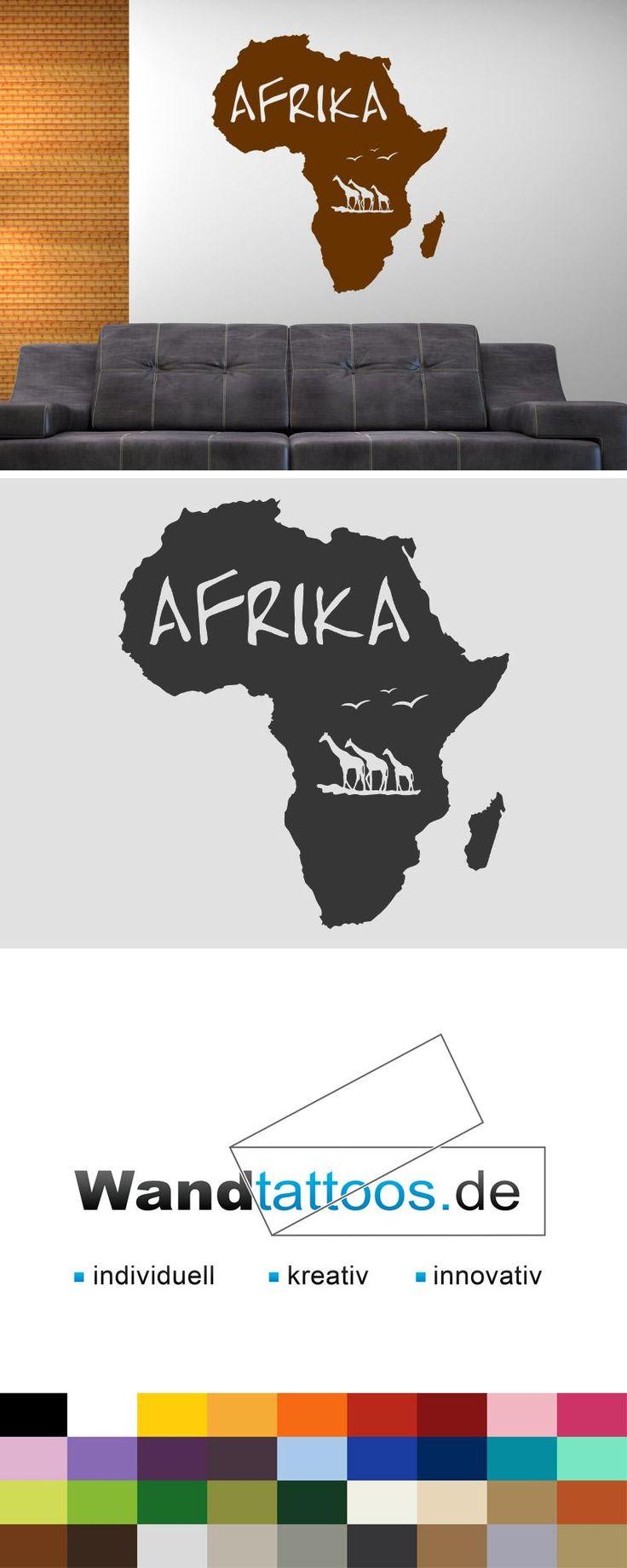 Wandtattoo Afrika als Idee zur individuellen Wandgestaltung. Einfach Lieblingsfarbe und Größe auswählen. Weitere kreative Anregungen von Wandtattoos.de hier entdecken!