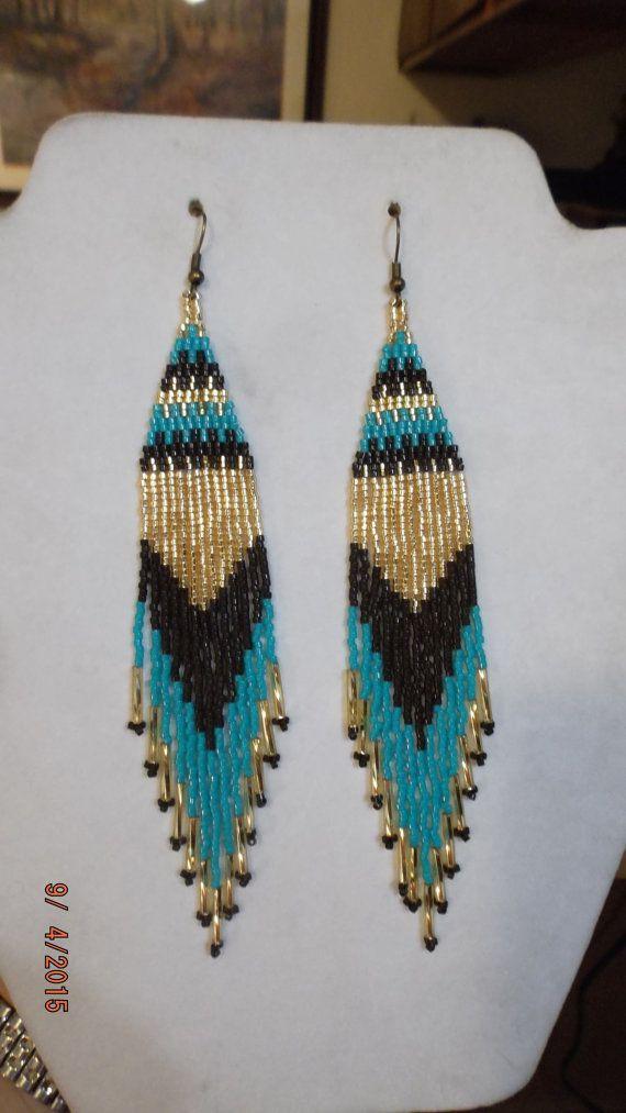 Native American Style Beaded Turquoise Gold by BeadedCreationsetc