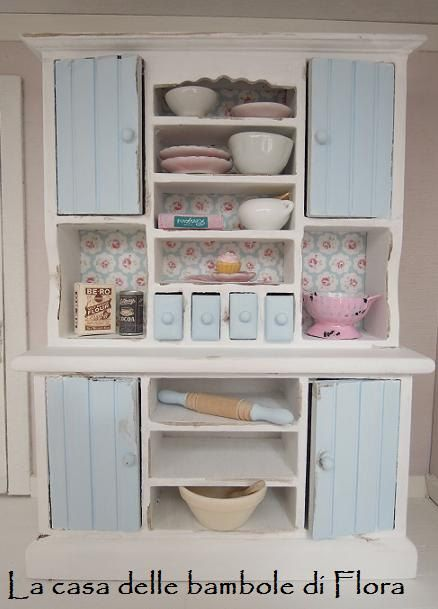Shabby chic country kitchen dresser cupboard  by FloraDollhouse