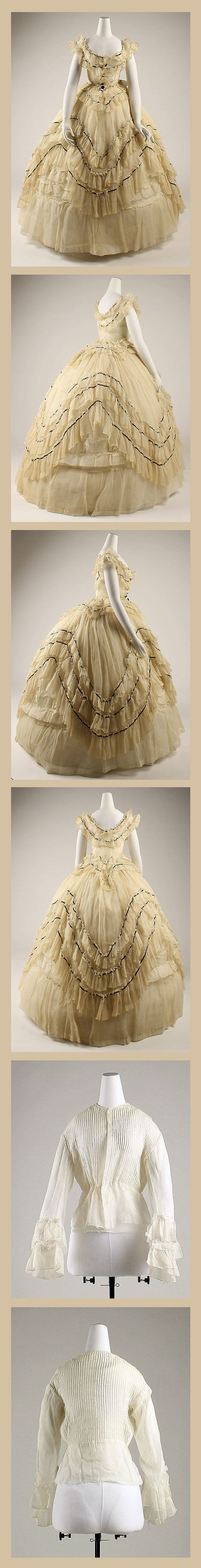 Dress ca. 1860 This is a white dress, which is not acceptable for Presentation, but the design and pattern is correct.