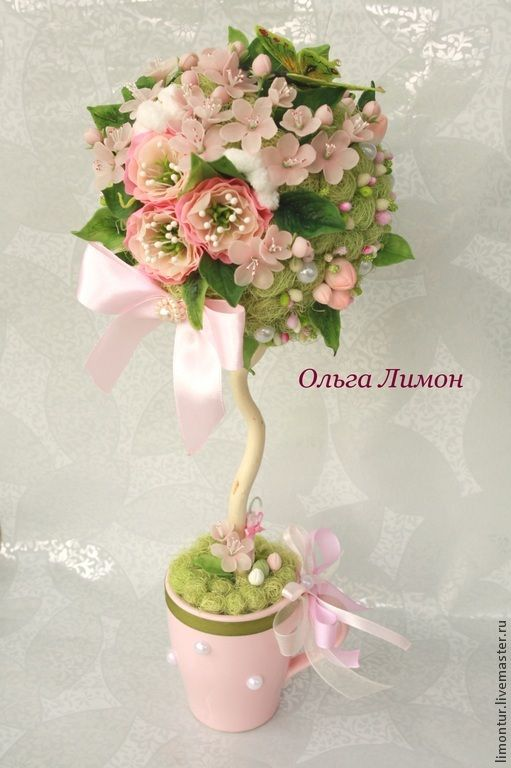"""Купить Топиарий """"Апрель!"""" - бледно-розовый, зеленый, весна, весенний, вишневый сад, яблоневый сад"""