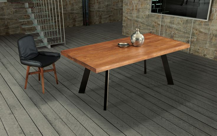 ROME contemporary dining table with solid oak wood top and metal legs