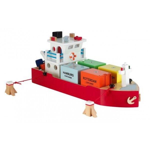 Groot houten speelgoed containerschip