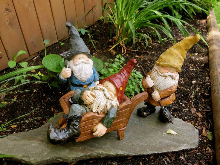 Lovely 3 ANTHONY FISHER GNOMES Gnome In Wheelbarrow Plus 2 Twelve Inch Woodland  Gnomes