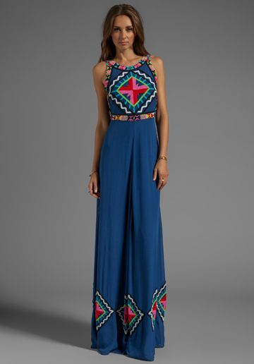 MARA HOFFMAN Beaded Gown in Denim - New