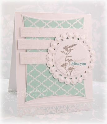 So pretty... love the circle surrounding the image.: Cards Feminine, Pretty Invitations, Invitations Cards, Cards Cards, Shower Cards, Cards Games, Circles Surroundings, Stamps Cardmaking, Miss You Cards