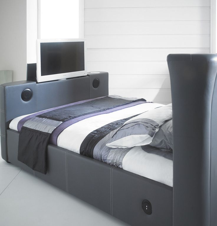 New Grey 5 0 Double Leather Music Tv Bed With Built In Speakers And Bluetooth
