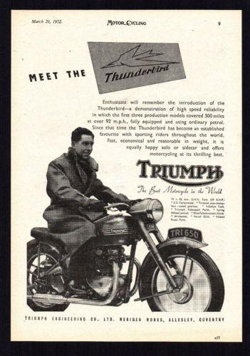 MARCH-1952-TRIUMPH-THUNDERBIRD-6T-650cc-MOTORCYCLE-MAGAZINE-ADVERT