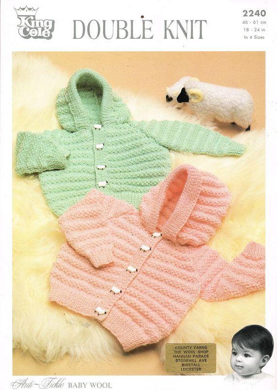 baby cardigan hoodie vintage knitting pattern PDF instant download