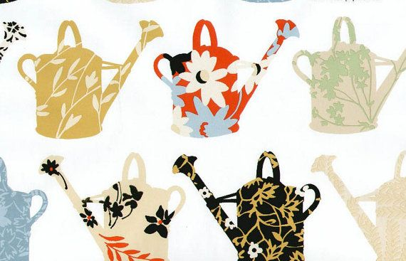 Large Watering Cans in Various Floral Prints -  Contemporary, Transitional, Black, Red, Gold, Gray, Yellow - Wallpaper BY THE YARD - CU25966
