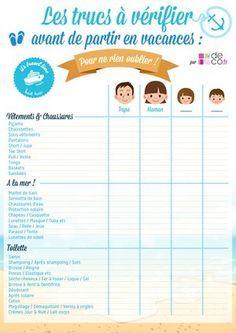 liste pour ne rien oublier avant de partir en vacances (à imprimer)