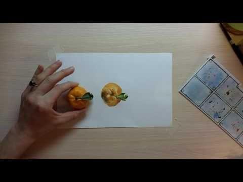 Акварельный мандарин. Фокус-покус :) - YouTube