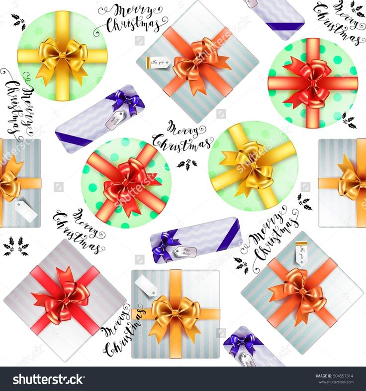 Vector gift wrapping seamless pattern. Boxes for gifts with beautiful colored ribbons and Merry Christmas lettering