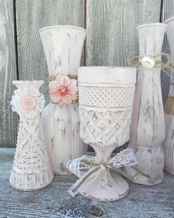 custom listing for nellie pink shabby chic vase collection set of