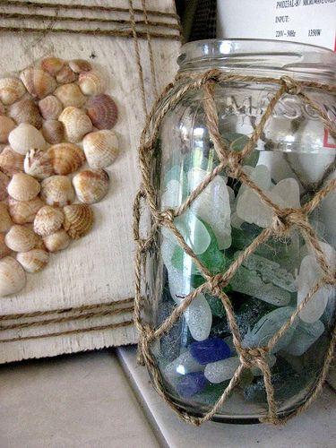jute wrapped mason jars - I wonder how a glass painted jar would look
