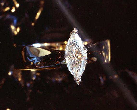 Marquise cut Diamond hand made Eternal Twist 18k gold & Platinum Engagement Ring on Etsy, $6,122.86