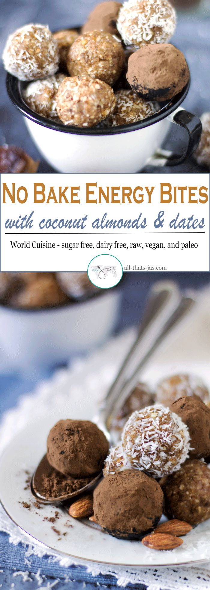 These easy, no bake energy bites with coconut, almond, and dates are perfect on-the-go sweet snacks with a healthy dose of fiber. They are sugar and gluten free, vegan, and paleo approved.