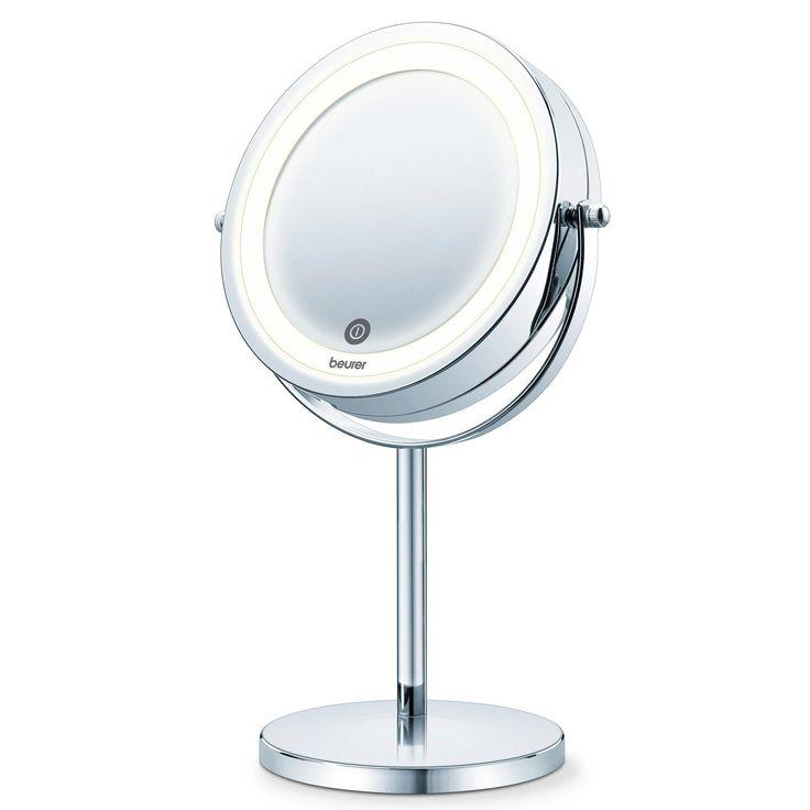 Make-up spegel för bord med LED lampor, spegeldiameter ca 13 cm, 7 ggr förstoring. Batteridriven. Batteries AAA