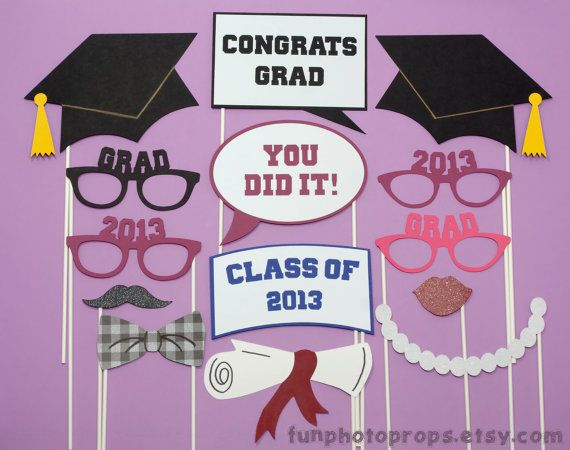 Photobooth Prop Set- 14 Piece Graduation Photo Booth Prop Set – Photobooth Props