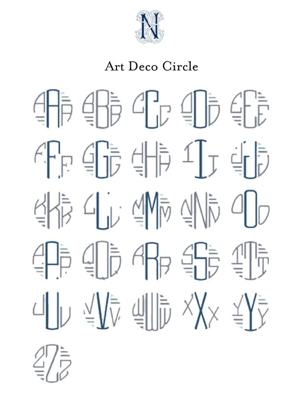 art-deco-font monograms (cross-pinned on Just My Type)