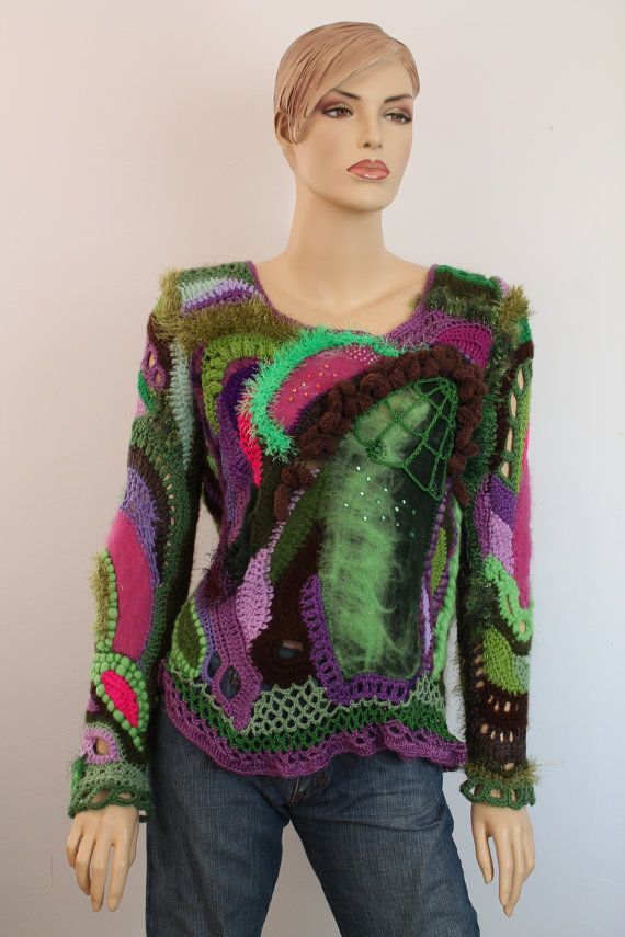 Unique Boho Chic Fairy Gypsy Pixie Freeform Crochet Nuno Felted Sweater  - Top  -  Long Sleeves - Wearable Art -Size L - XL