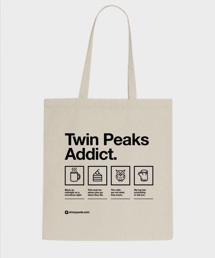 Twin Peaks Tribut David Lynch Dale Cooper Laura Palmer Filmkult Einkaufstasche Baumwolltasche Textil Grafikdesign Minimalist Helvetica