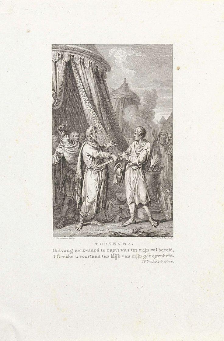 Reinier Vinkeles | Torsenna geeft een zwaard terug aan een man, Reinier Vinkeles, 1795 | In een legerkamp geeft Torsenna het zwaard terug aan een man. Illustratie voor het toneelstuk 'C. Mucius Cordus, of De verlossing van Rome' van Rhijnvis Feith.