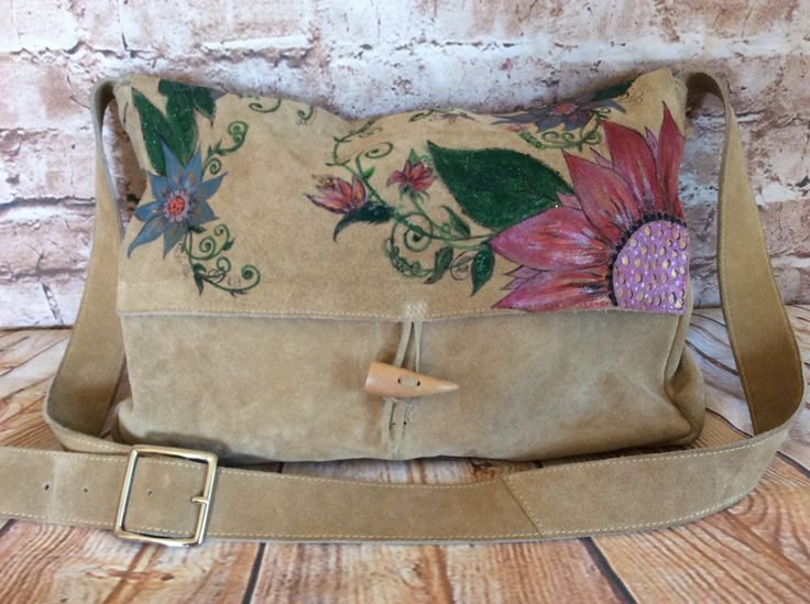 Vintage Shoulder Bag Cross Body Satchel Messenger Hobo Slouchy Beige Floral Suede Hand Painted Festival Boho Chic Hippy c1980s by InVogueToVintage on Etsy
