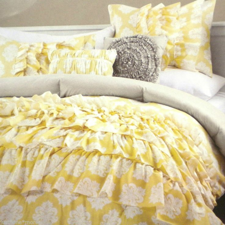 Private Cynthia Rowley 3pc Yellow Ruffled Duvet Cover