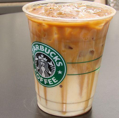 "Iced Caramel ""Macchiato"" 1 cup ice, 1 cup milk, 1/4 cup vanilla bean coffee creamer, caramel syrup, coffee Add ice to cup then milk, creamer, syrup, coffee and a little bit more milk. Top with caramel sauce."