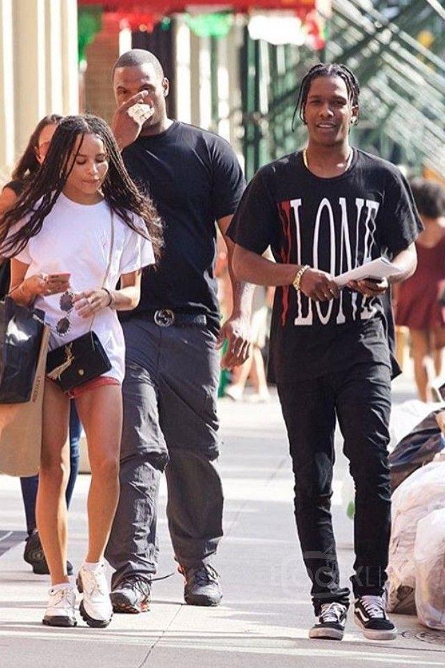 ASAP Rocky wearing Fan Merchandise Vlone T-Shirt, Vans Old Skool™ Core Classics