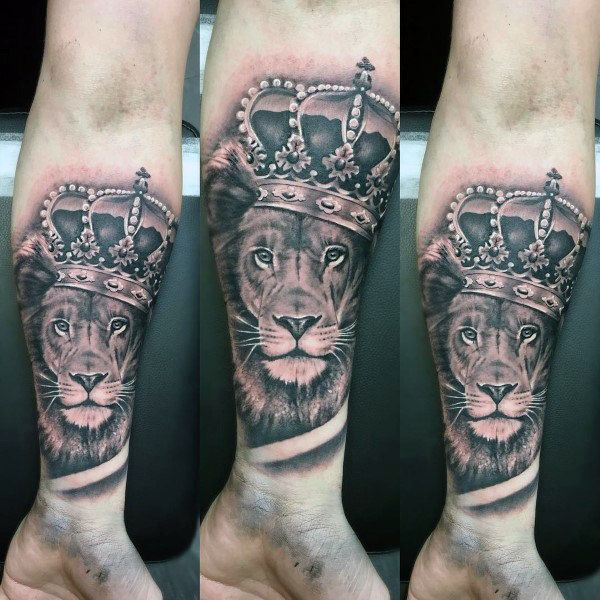 Forearm Sleeve Mens Lion With Crown Tattoos