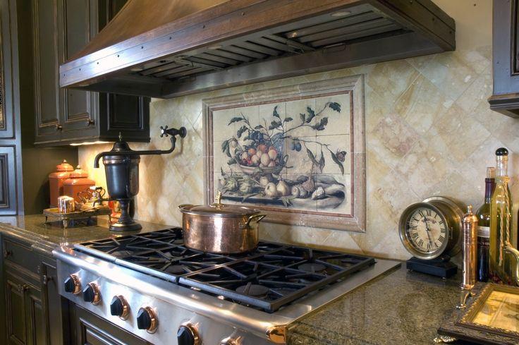 Inspired kitchen backsplash design ideas with designer murals, patterned tile, accents, + listellos. Rustic to modern designer patterns on natural stone.