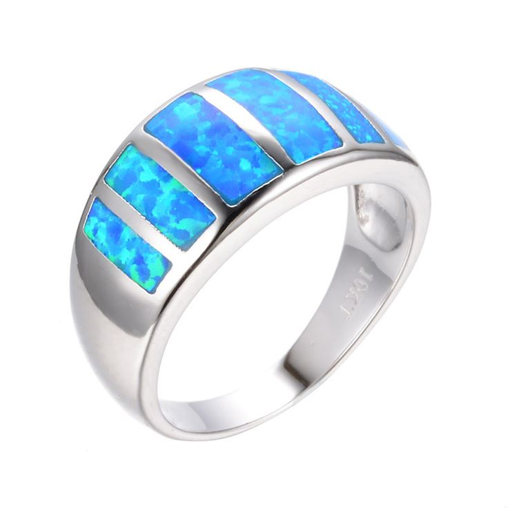 2016 Fashion Jewelry Size 6/7/8/9 Vintage Ocean Blue Fire Opal Ring 10KT White Gold Filled Women Wedding Engagement Rings RP0062