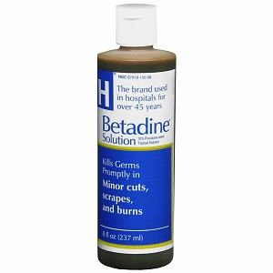 Betadine:  Broad spectrum antiseptic for topical application. Used in 1st aid for minor cuts, grazes, burns, abrasions and blisters. Broadly used for the prevention and treatment of skin infections, and the treatment of wounds. Effective against yeasts, molds, fungi, viruses, and protozoans. Hospitals use this to clean patients before surgery. It is a nasty red/brown color. It does not sting or burn. It does not have a strong odor. A little goes a long way. It can also be diluted.