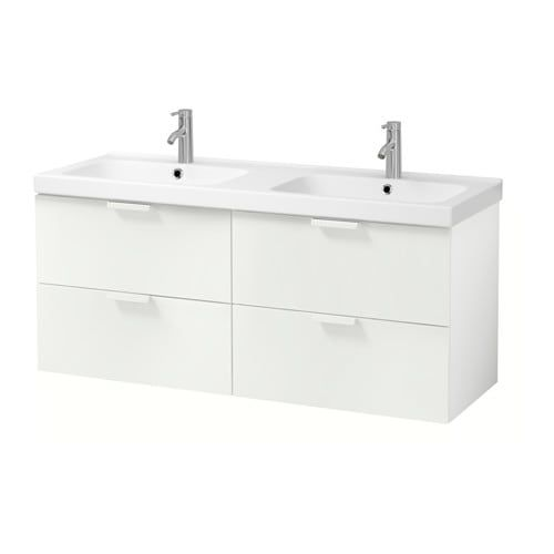 GODMORGON / ODENSVIK Meuble pour lavabo, 4 tiroirs, Resjön blanc in