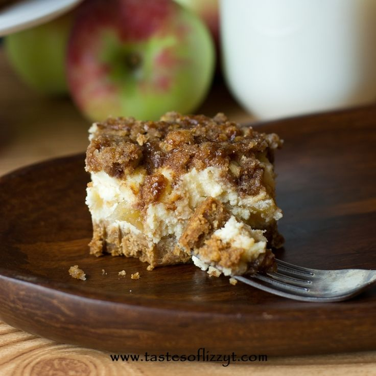 Caramel Apple Streusel Cheesecake Bars - Tastes of Lizzy T's