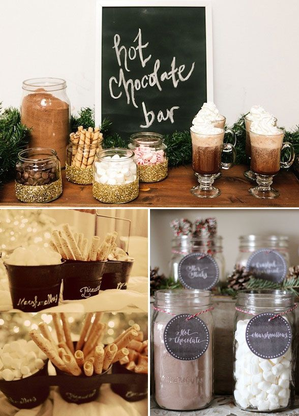 A hot chocolate will have all your guests feeling warm and cozy. Let your guests customize their own drinks, with fun toppings and add ons. Desserts, Wedding Dessert Table, Chocolate, Marshmallow
